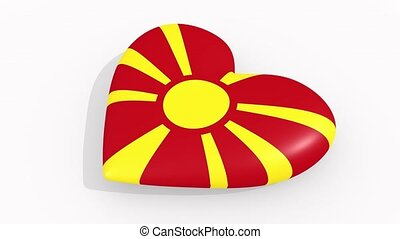 Heart in colors and symbols of Macedonia, loop - Heart in...