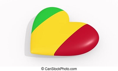 Heart in colors and symbols of Mali, loop - Heart in colors...