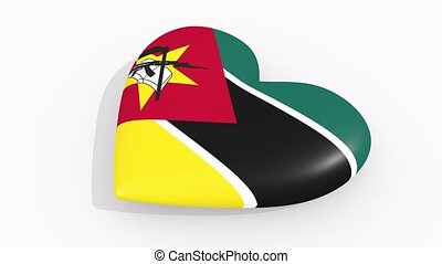 Heart in colors and symbols of Mozambique, loop - Heart in...