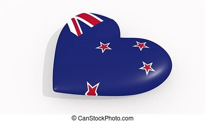 Heart in colors and symbols of New Zealand, loop - Heart in...