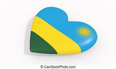 Heart in colors and symbols of Rwanda, loop