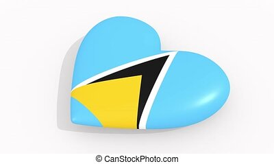 Heart in colors and symbols of Saint Lucia, loop - Heart in...