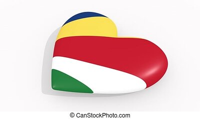 Heart in colors and symbols of Seychelles, loop - Heart in...