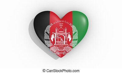 Heart in colors flag of Afghanistan pulses, loop