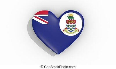 Heart in colors flag of Cayman Islands pulses loop