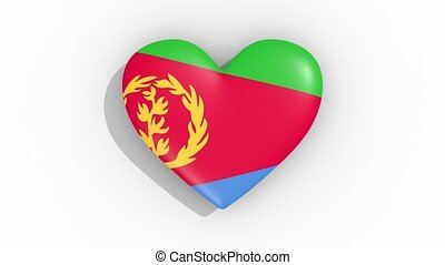 Heart in colors flag of Eritrea pulses, loop