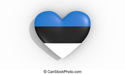 Heart in colors flag of Estonia pulses, loop