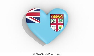 Heart in colors flag of Fiji pulses, loop