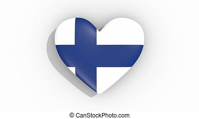 Heart in colors flag of Finland pulses, loop
