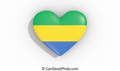 Heart in colors flag of Gabon pulses, loop