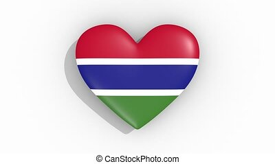 Heart in colors flag of Gambia pulses, loop.