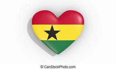 Heart in colors flag of Ghana pulses, loop