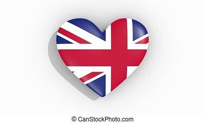 Heart in colors flag of Great Britain pulses, loop - Heart...