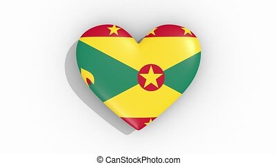 Heart in colors flag of Grenada pulses, loop