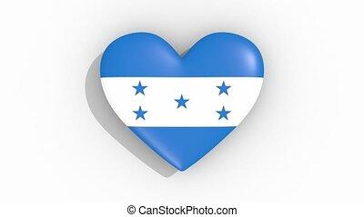 Heart in colors flag of Honduras pulses, loop.