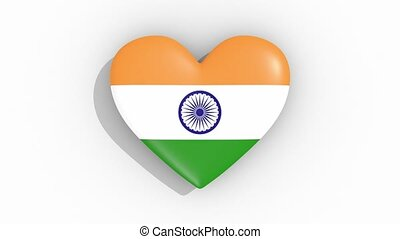 Heart in colors flag of India pulses, loop