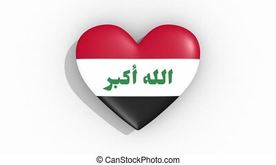 Heart in colors flag of Iraq pulses, loop