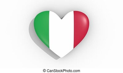 Heart in colors flag of Italy pulses, loop