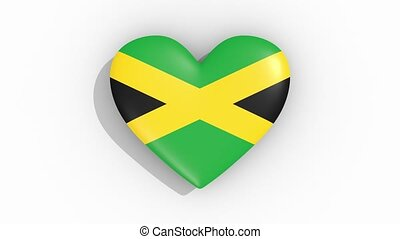 Heart in colors flag of Jamaica pulses, loop