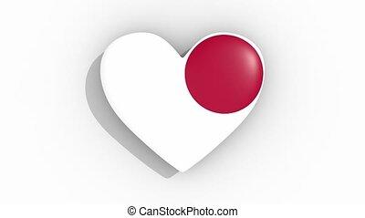 Heart in colors flag of Japan pulses, loop.