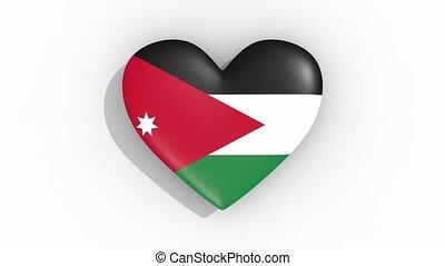 Heart in colors flag of Jordan pulses, loop - Heart in...