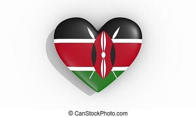 Heart in colors flag of Kenya pulses, loop.