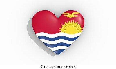 Heart in colors flag of Kiribati pulses, loop.