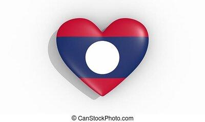 Heart in colors flag of Laos pulses, loop.