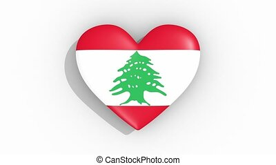 Heart in colors flag of Lebanon pulses, loop