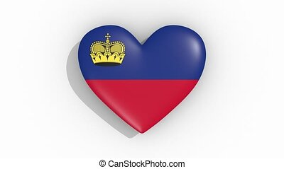 Heart in colors flag of Liechtenstein pulses, loop.