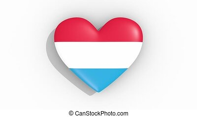 Heart in colors flag of Luxembourg pulses, loop.