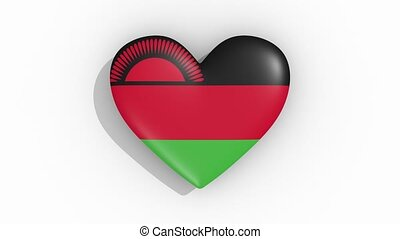 Heart in colors flag of Malawi pulses, loop.