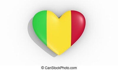 Heart in colors flag of Mali pulses, loop.