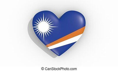 Heart in colors flag of Marshall Islands, loop - Heart in...