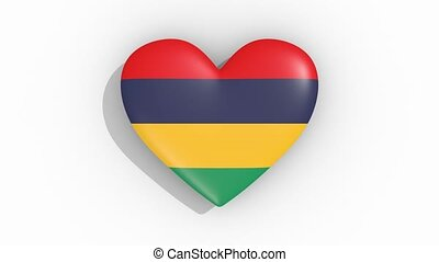 Heart in colors flag of Mauritius pulses, loop.