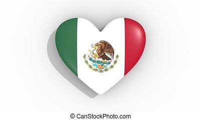 Heart in colors flag of Mexico pulses, loop.