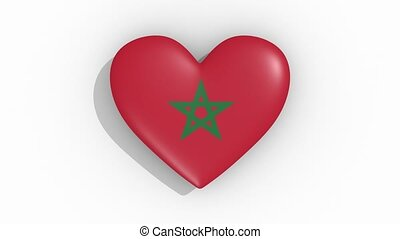 Heart in colors flag of Morocco pulses, loop.