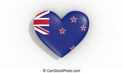 Heart in colors flag of New Zealand pulses, loop