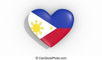 Heart in colors flag of Philippines pulses, loop - Heart in...
