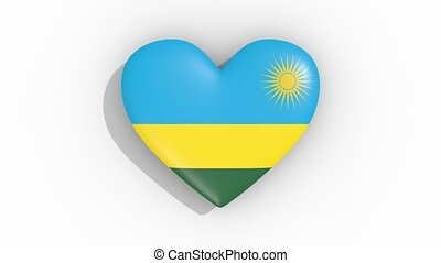 Heart in colors flag of Rwanda pulses, loop.