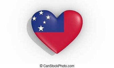 Heart in colors flag of Samoa pulses, loop