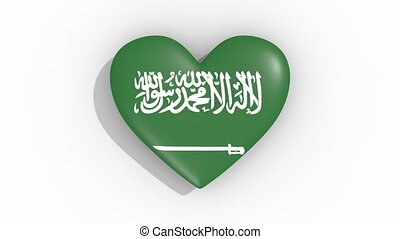 Heart in colors flag of Saudi Arabia pulses, loop.