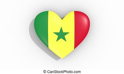 Heart in colors flag of Senegal pulses, loop.