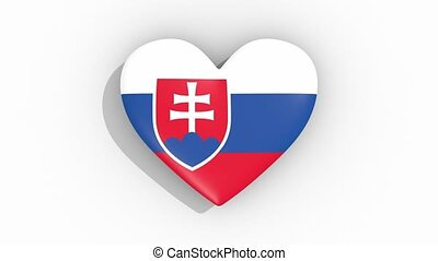 Heart in colors flag of Slovakia pulses, loop.