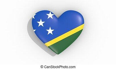 Heart in colors flag of Solomon Islands, loop - Heart in...