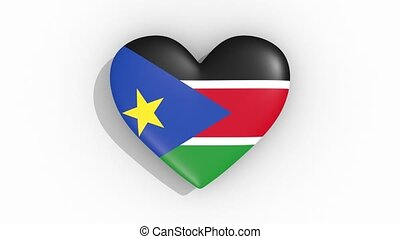 Heart in colors flag of South Sudan pulses, loop.