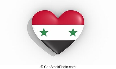 Heart in colors flag of Syria pulses, loop.