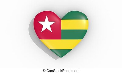 Heart in colors flag of Togo pulses, loop.