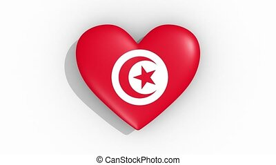 Heart in colors flag of Tunisia pulses, loop.