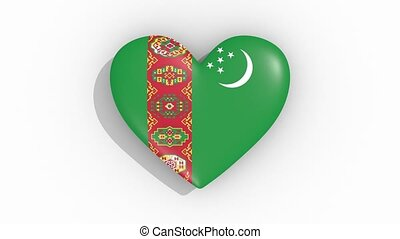 Heart in colors flag of Turkmenistan pulses, loop.